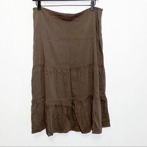 Theory Ellen B Brown Linen Blend Ruffle Midi Skirt
